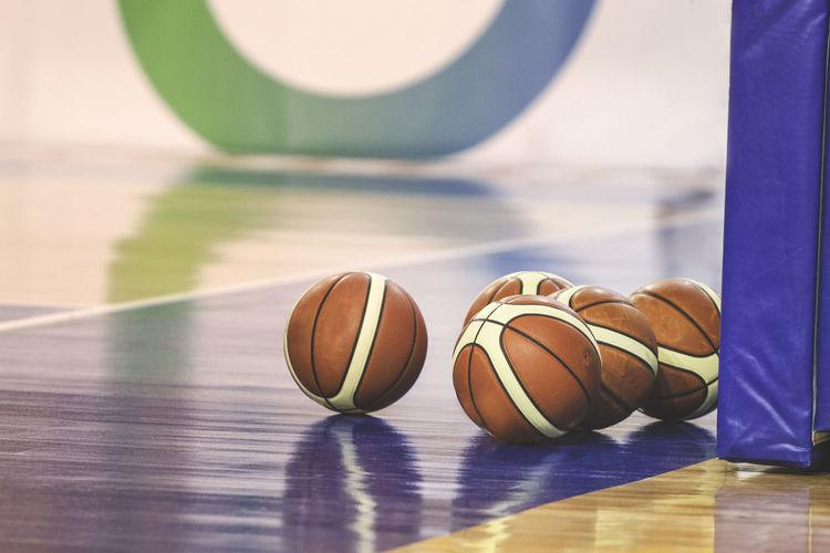 Basketballs on floor in court