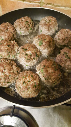 Meatballs in the pan Casserole Close-up Cooking Pan Food Food And Drink Freshness Fried Frying Pan Healthy Eating Household Equipment Indoors  Kitchen Utensil Meat No People Pan Preparation  Ready-to-eat Seafood Skillet- Cooking Pan Still Life Vegetable Wellbeing