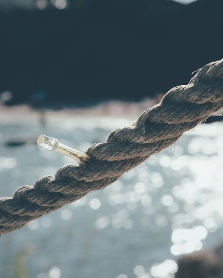Close-up of rope on water