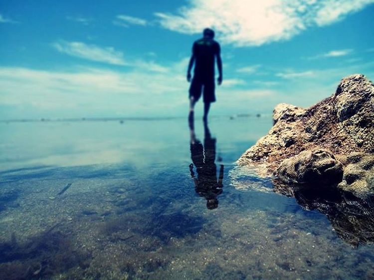 """""""walk on the water"""" Indonesia_photography INDONESIA People TellTheWorld Landscape Sea And Sky Blue Wave Nature Hello World Tell The World"""