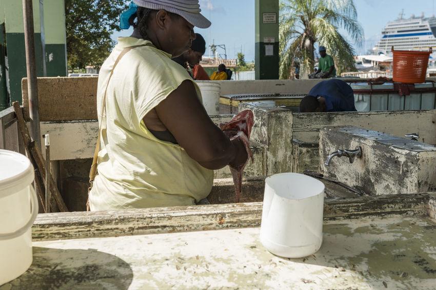 Antigua, City of Saint John's Antigua Antilles State City Of Saint John's Cloud Islands Over The Wind Saint John's Woman Antilles Blue Caribbean Commonwealth Fish FishMarket Sky Small Antilles White