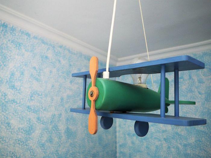 Nursery Plane Wood Blue Childhood Close-up Day Hanging Indoors  Toy Transportation