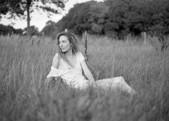 Portrait of woman on field