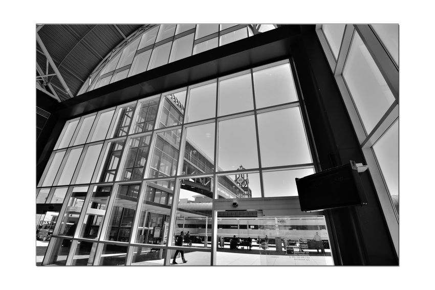 Train Terminal 1 C.L. Dellums Amtrak Station Okj Est. 1995 Jack London Square Port Of Oakland,Ca. Train Terminal Lines: Capitol Corridor, Coast Starlight, San Joaquin Platform & Track Union Pacific Railroad Architecture Modern Architectural Feature Glass,Steel, Stone Arches Windows Doors Monochrome_Photography Monochrome Black & White Black & White Photography Black And White Black And White Collection  The Architect - 2018 EyeEm Awards