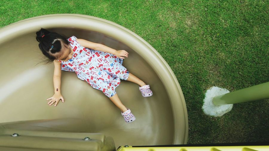 High angle view of girl in water