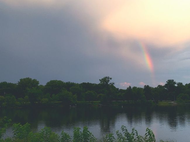Beauty of rain! Luck Of The Irish Rainy Days Rainbow Tree Double Rainbow Nature Scenics Beauty In Nature No People Tranquil Scene Idyllic Tranquility Sky Water EyeEmNewHere