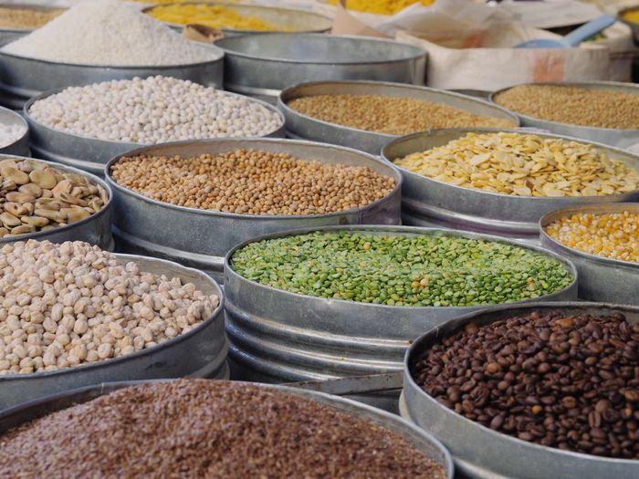 Full frame shot of legumes for sale at market stall