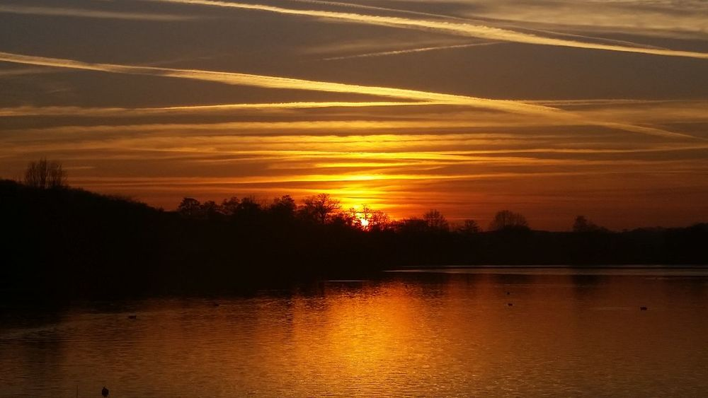 Beauty In Nature Landscape Tranquil Scene Silhouette Lake Sky Sunset Reflection Water Tranquility Orange Color Reflection Lake