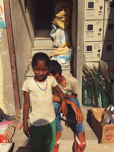 Two People Girls Real People Boys Day Architecture Childhood Togetherness Outdoors Building Exterior Young Adult Adult People Indianculture Indian Children Market India