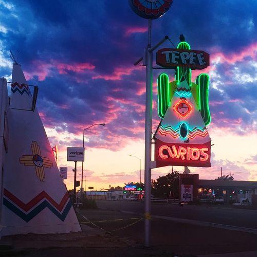 Roadside America Tucumcari Sunset Teepee Neon