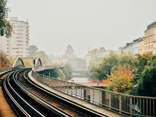 Architecture Railing Tree City Bridge - Man Made Structure Connection River Water Bridge Outdoors Railway Track Scenics Sky Tranquility Autumn Autumn🍁🍁🍁 Autumn Colors Fog Foggy Day Cityscapes Cityscape Urban Panorama Capture Berlin Adapted To The City Discover Berlin