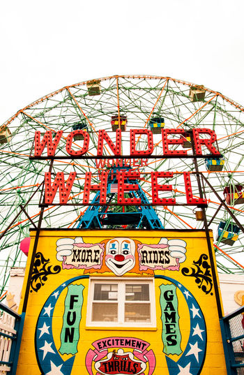 Coney Island Coney Island / Brooklyn NY Low Angle View Metal Text Wonder Wheel