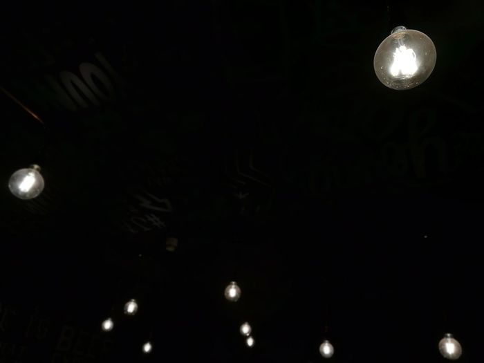 lightbulbs Like Stars Spots HuaweiP9 Mobilephotography Moon Ball Low Angle View Black Background No People Hanging