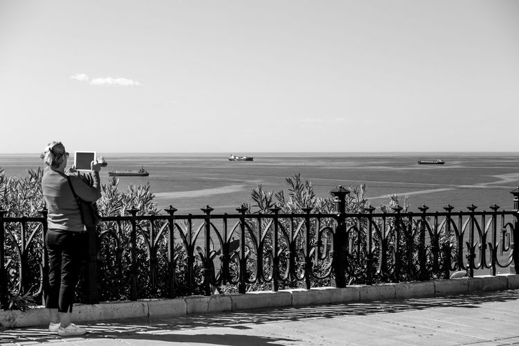 Blackandwhite Black And White Black&white Black & White Black And White Photography Photo Tablet Landscape Sea Mediterranean  Ship Streetphotography