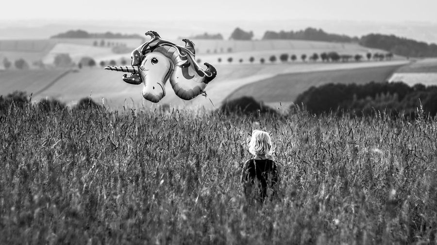 Rear View Of Girl Holding Balloon Standing On Field