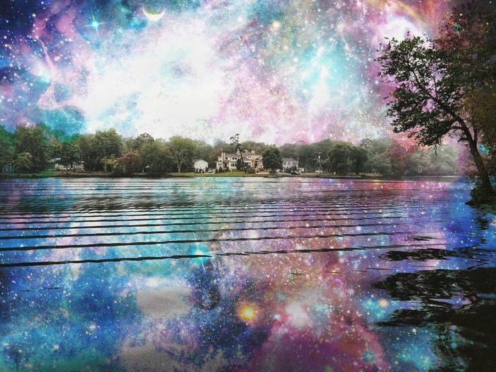 Reflection Water Multi Colored Outdoors Lake Landscape Scenics Galaxy Beauty Tree No People Nature Sky Flood Hot Spring Day