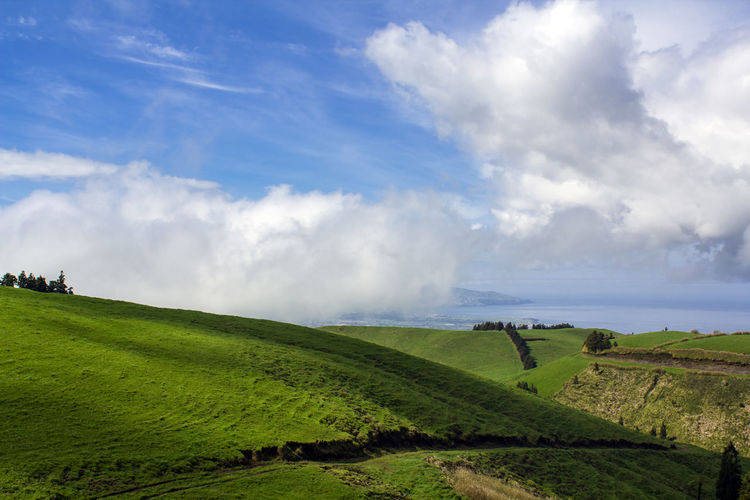 Scenic Green hill landscape Azores Hiking Rolling Landscape Scenic Agriculture Beauty In Nature Cloud - Sky Coutryside Environment Fields Grass Green Color Green Hills Green Island Hill Landscape Nature No People Non-urban Scene Outdoors Remote Rural Scene Scenics - Nature Solitude Tranquil Scene