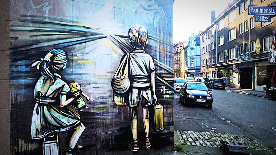 Coming home -Going away? Refugees Street City Street People Outdoors Mural Mural Art Mural Painting Dortmund Dortmund-West