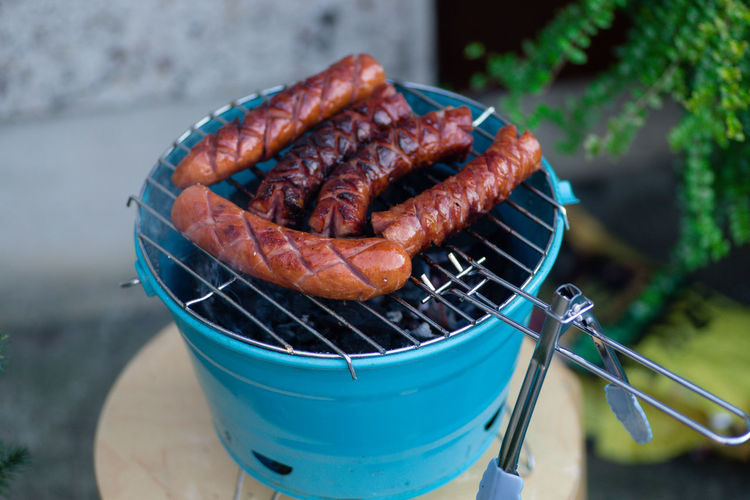 Close-Up Of Sausages On Barbecue Grill
