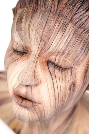Close-up Wooden Wooden Art Wooden Face Piece Of Art Face Brown Beautiful Nature