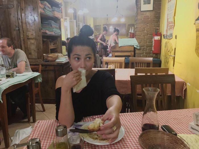 Hermina Table Food And Drink Restaurant Looking Sharing  Italian Food