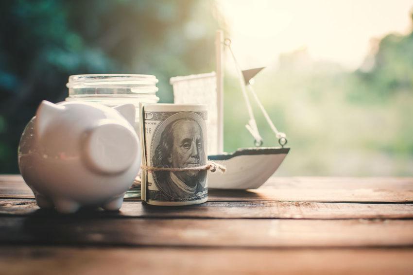 Ceramics Close-up Jar Money Selective Focus Still Life Sunlight Table