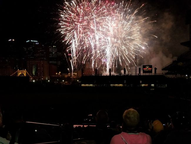Firework Display Exploding Night Firework - Man Made Object Celebration Arts Culture And Entertainment Long Exposure Event Multi Colored Awe Illuminated Blurred Motion Sky Outdoors Cityscape City Excitement Large Group Of People Celebration Event Spectator Pittsburgh Pirates PNC Park Baseball Stadium Pittsburgh Pennsylvania The Week On EyeEm