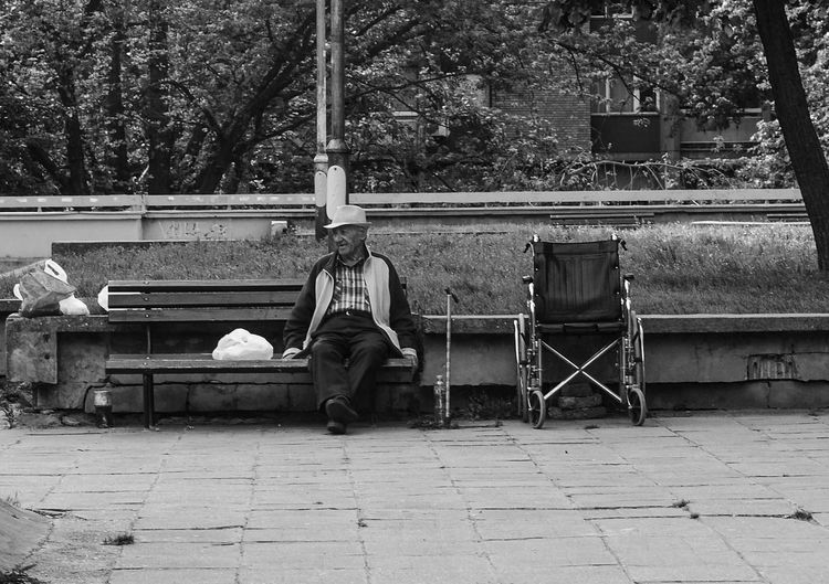 Adult Bench Black & White Black And White Black And White Photography Blackandwhite Day Full Length Horizontal Men Old Man Old Man Portrait One Man Only One Person Only Men Outdoors People Person Real People Sitting Tree Weelchair