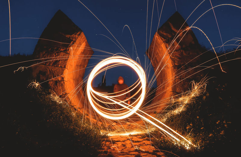Light painting Abstract Night Motion Fire Cool Spinning Painting Photographing Speed Glowing Photography Outdoors Burning Firework Illuminated Light Painting Long Exposure Sparks Steel Wool Wire Wool Long Exposure Shot Longtimeexposure One Person Blurred Motion Unrecognizable Person Fire - Natural Phenomenon Orange Color Light Trail