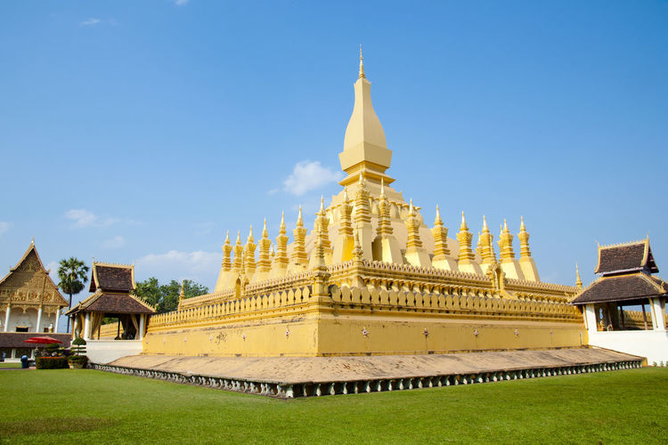 Pha That Luang Golden Temple Golden Temple Vientiane Buddhism Laos Pha That Luang