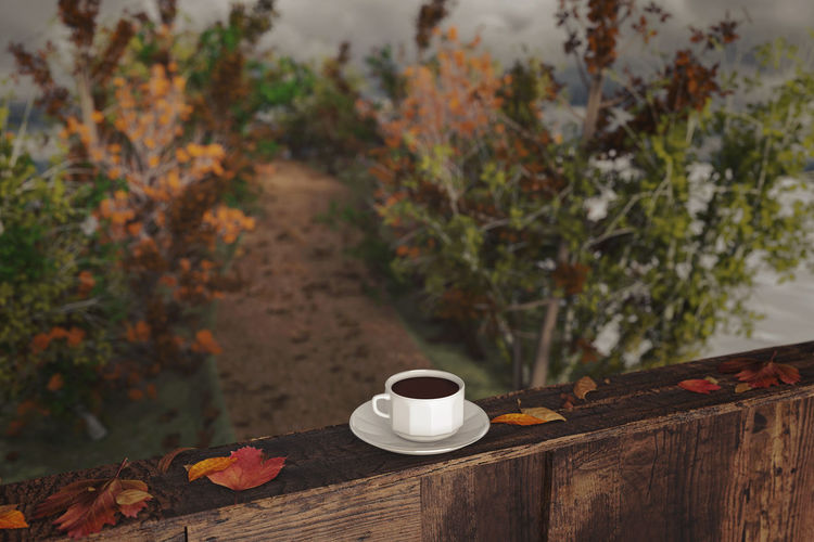 cup of coffee on wooden windowsill with leaves in front of footpath in the autumn season Footpath Nature Tranquility Autumn Beauty In Nature Close-up Coffee - Drink Coffee Cup Countryside Forest Leaf Nature No People Outdoors Tranquil Scene Tree Way Window Ledge Windowsill Wooden