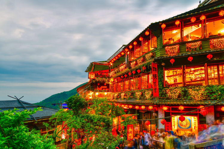 Jiufen Old town is a famous scenic in Ruifang District at the northern coast of Taiwan, and the hillside tea house is the famous landmark Illuminated Architecture Sky Cloud - Sky Built Structure Building Exterior Nature Night City Plant Dusk Outdoors Building Decoration Jiufen Jiufen Old Street, Taiwan Old Town Famous Place Ruifang District Taiwan Hillside New Taipei