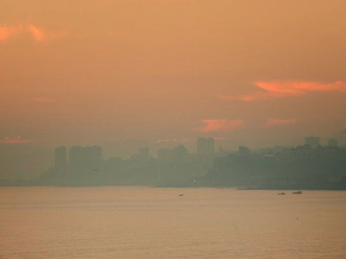 Good Morning Pastel Sunrise Pastel Clouds Pink Sky Foggy Sunrise Silouette & Sky Bay Of Valparaiso From My Office Window