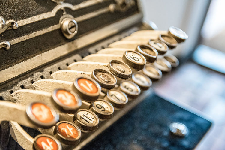 High Angle View Of Typewriter On Table