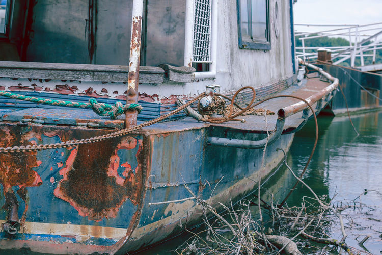 Abandoned Boat In Lake