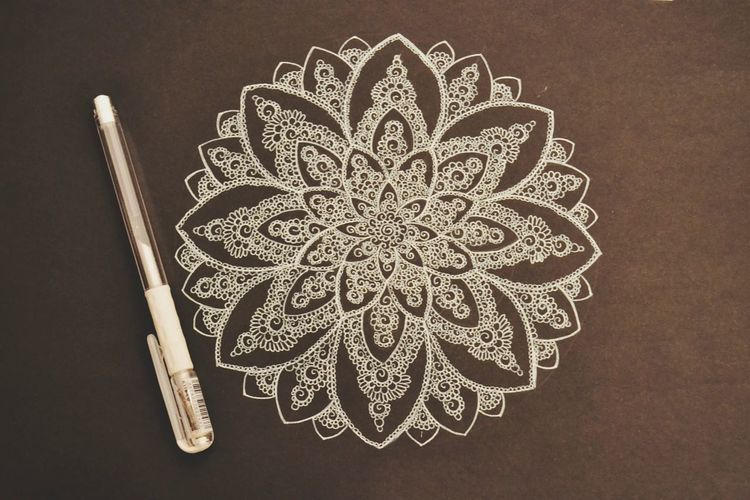 Art And Craft Creativity Studio Shot Photo Black White Mandala Art