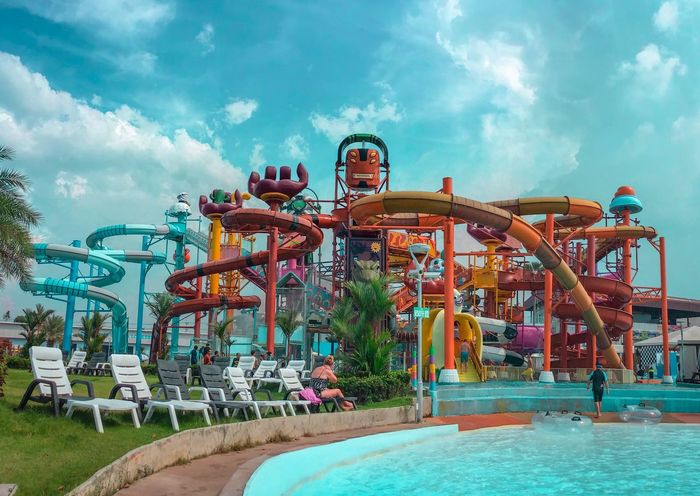 """Funny"" Cartoon Network Water Park Water Park Water Park Pool Amusement Park Sky Amusement Park Ride Cloud - Sky Leisure Activity Group Of People Arts Culture And Entertainment Enjoyment Day Nature Real People Fun Lifestyles Outdoors Women Architecture Men Water Incidental People People"