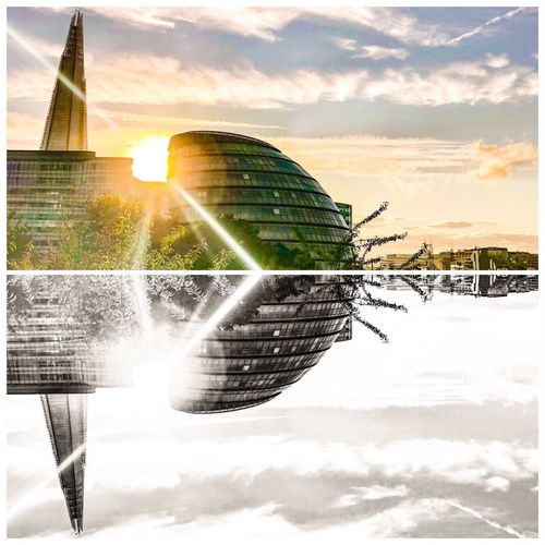 Upside downer Collage Creative ShotOnIphone Mobilephotography IPhoneography Travel Destinations Travel Photography Shard City Hall United Kingdom LONDON❤ Sky Water Nature Sunlight Cloud - Sky Sunset Lens Flare Architecture Sun Sunbeam Built Structure Building Exterior