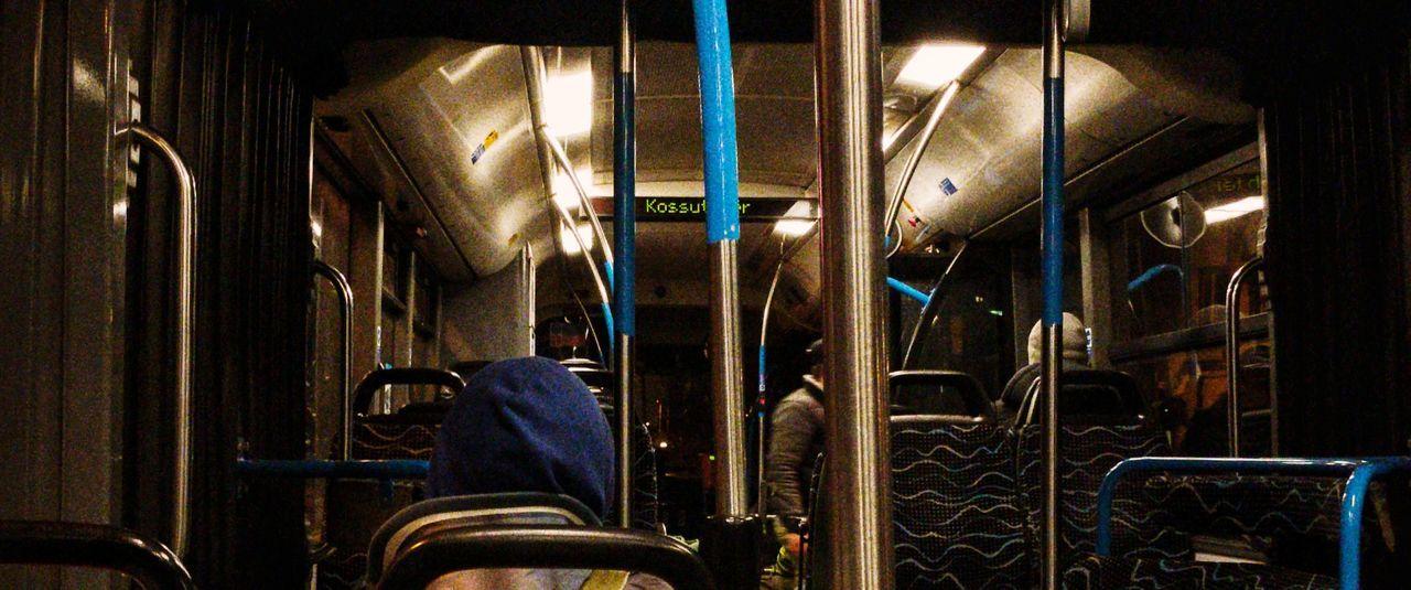 Budapest Hungary Bus Nightbus 950 BKK Lights Inside Seats People Travel Night Night Lights