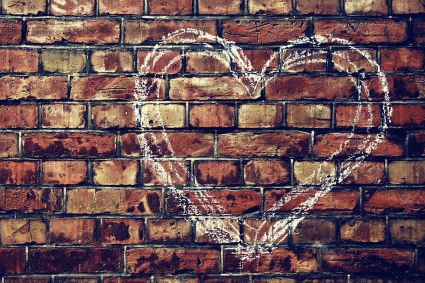 Love Painted Wall Architecture Art And Craft Backgrounds Brick Brick Wall Brown Building Exterior Close-up Creativity Day Design Full Frame Heart Heart Shape Heart ❤ Love ♥ No People Old Outdoors Pattern Textured  Wall Wall - Building Feature