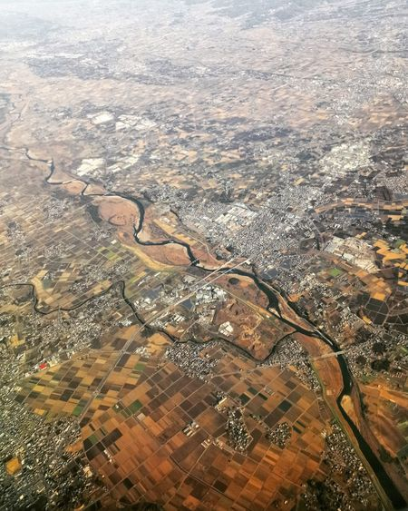 Aerial view of city from airplane