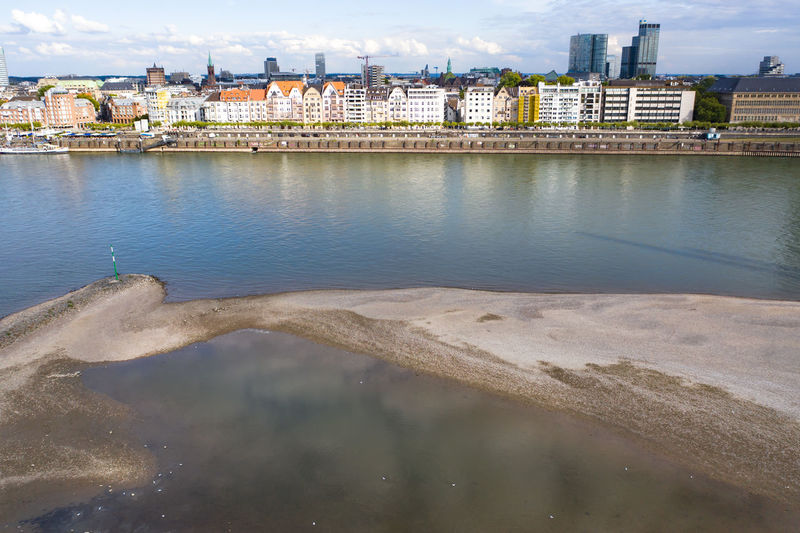 The banks of the rhine in düsseldorf and a bird's eye view of the city