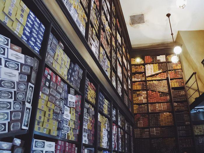 Universal Studios Japan Universal Studios  Childhood Vintage Harrypotter Harry Potter Vscocam Vscogood VSCO Nikon Nikon1j5 Adventure Indoors  Shelf No People Large Group Of Objects Illuminated Magic