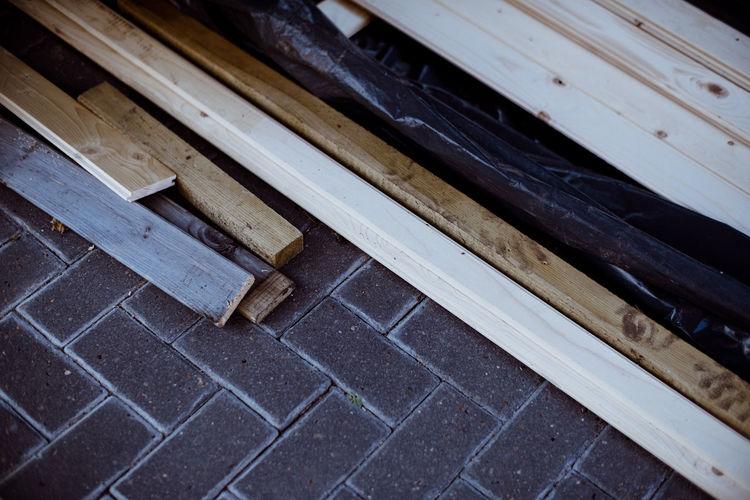 High angle view of wood on floor
