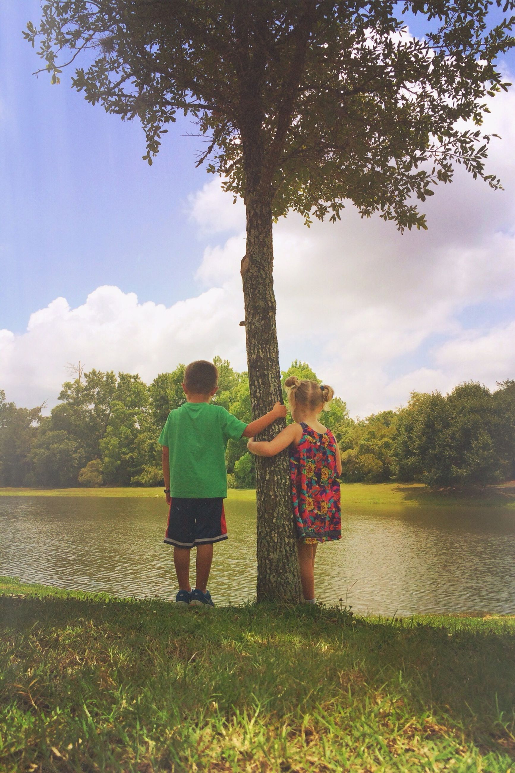 tree, rear view, lifestyles, leisure activity, person, sky, full length, tranquility, standing, water, men, lake, tranquil scene, nature, cloud - sky, bench, sitting