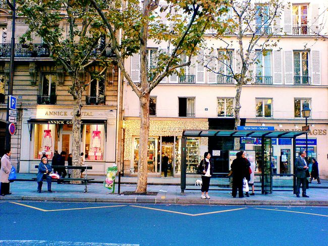 Showcase March Parisian Chic Paris, France  Bus Stop Saint Germain Des Pres Facades Building Exterior Silhouettes Of A City Up Close Street Photography The Street Photographer - 2016 EyeEm Awards My Commute Colour Of Life The City Light Neon Life