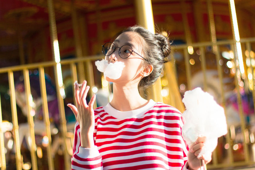 Casual Clothing Close-up Focus On Foreground Happiness Innocence Leisure Activity Lifestyles Mashmallow Potrait Red Theme Park Women Who Inspire You