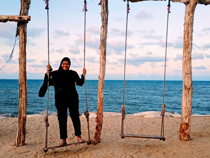 Happy Water Sea Full Length Portrait Beach Standing Sand Front View Sky Swing