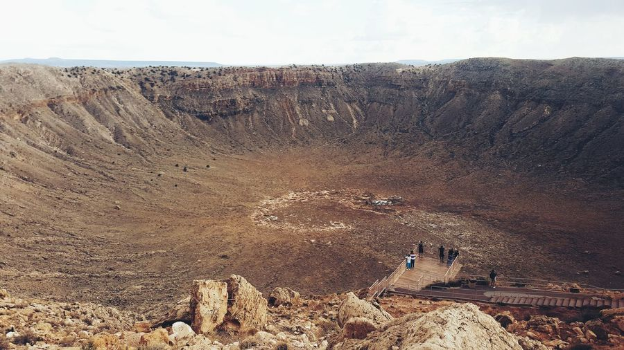 High angle view of crater