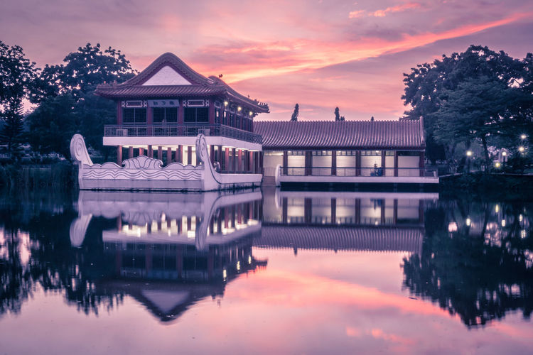 Chinese Garden Architecture Building Exterior Built Structure City Cloud - Sky Dusk Illuminated Lake Nature No People Outdoors Plant Purple Reflection Sky Sunset Travel Destinations Tree Water Waterfront The Still Life Photographer - 2018 EyeEm Awards